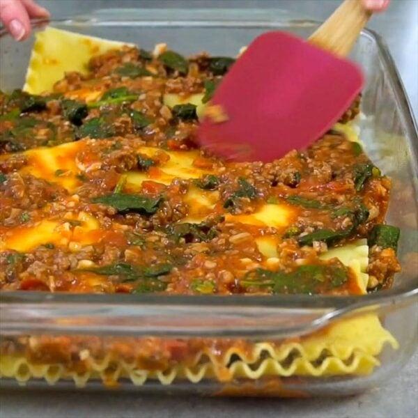 layering lasagna