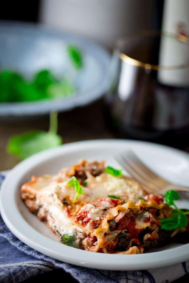 Healthy Beef Lasagna with Spinach and Basil | Gluten Free | Kid Friendly | Main Course | Dinner | Winter | Healthy Seasonal Recipes | Katie Webster
