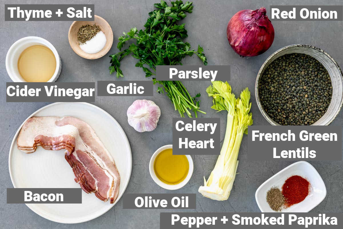 ingredients for french lentils with bacon
