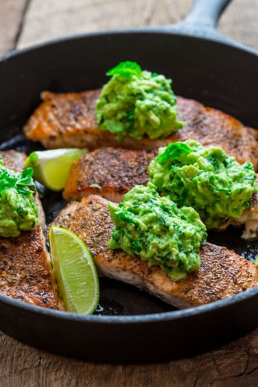 Salmon with Avocado and Basil