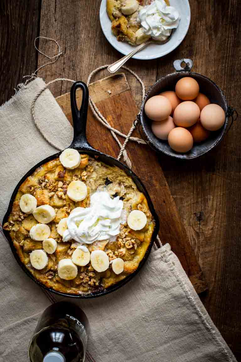 banana bread pudding in a skillet