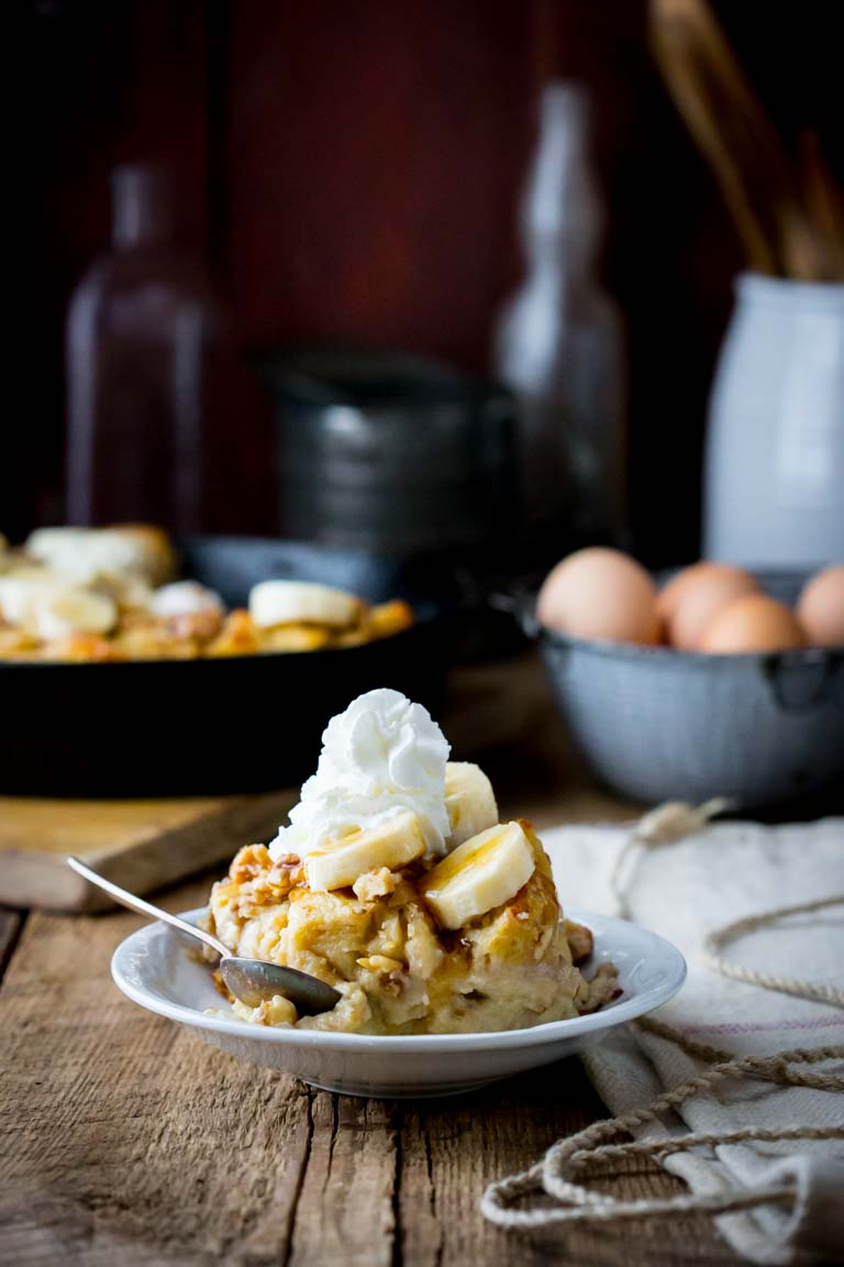 Greek Yogurt Banana Maple Bread Pudding | Dessert | Breakfast | Greek Yogurt | Winter | Healthy Seasonal Recipes | Katie Webster