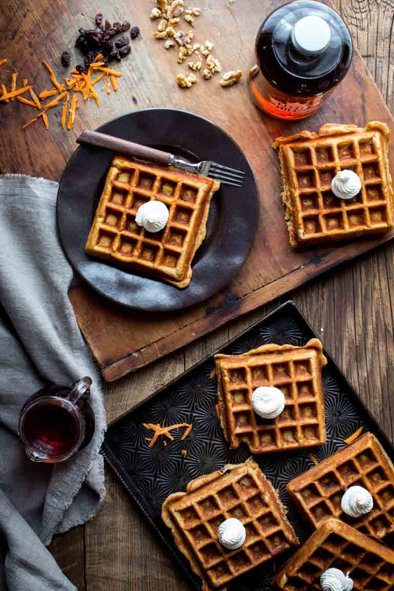 Carrot Cake Waffles on a black plate