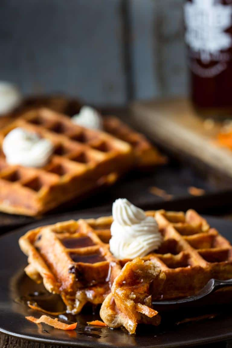 Carrot Cake Waffles | Breakfast | 30 minutes or less | White Whole Wheat Flour | Healthy Seasonal Recipes | Katie Webster