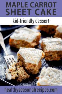 fork and bite of maple carrot sheet cake