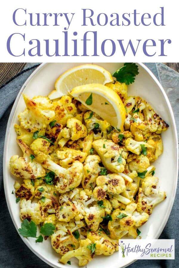 overhead closeup of curry cauliflower