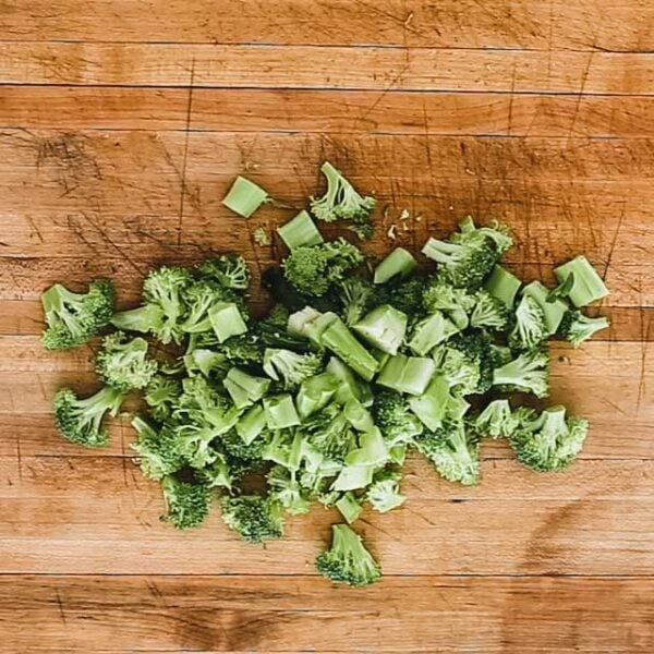 Chop broccoli.
