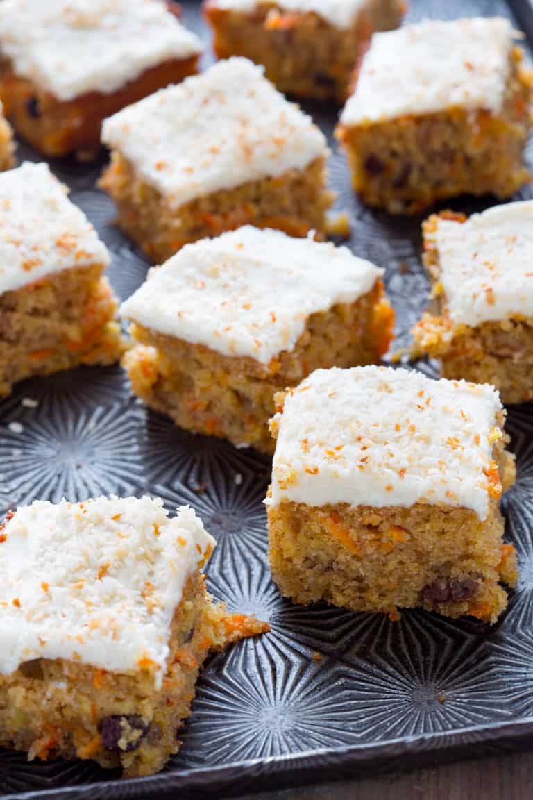 Healthy Maple Carrot Sheet Cake | Dessert | Baking | Easter | Spring | Healthy Seasonal Recipes | Katie Webster