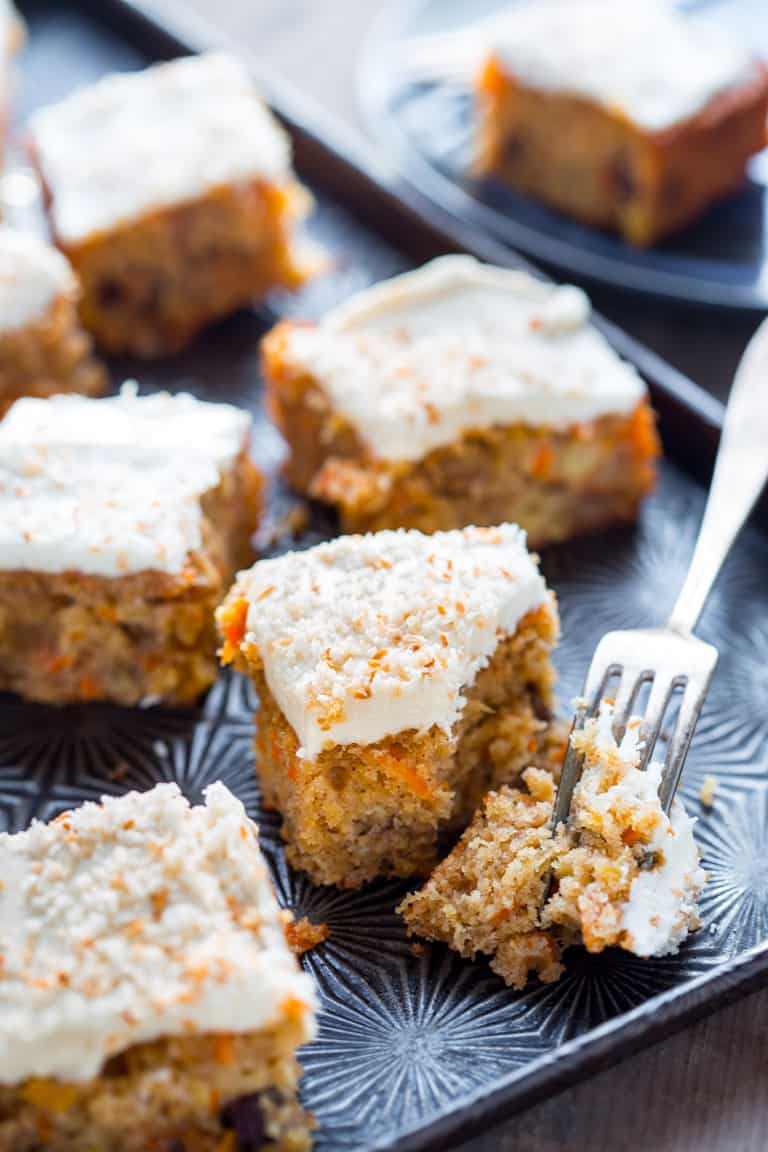 healthy carrot cake slices with fork