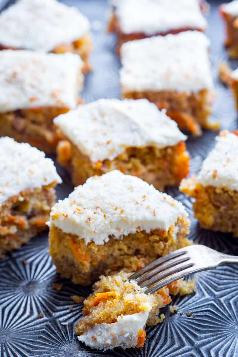 healthy maple carrot sheet cake
