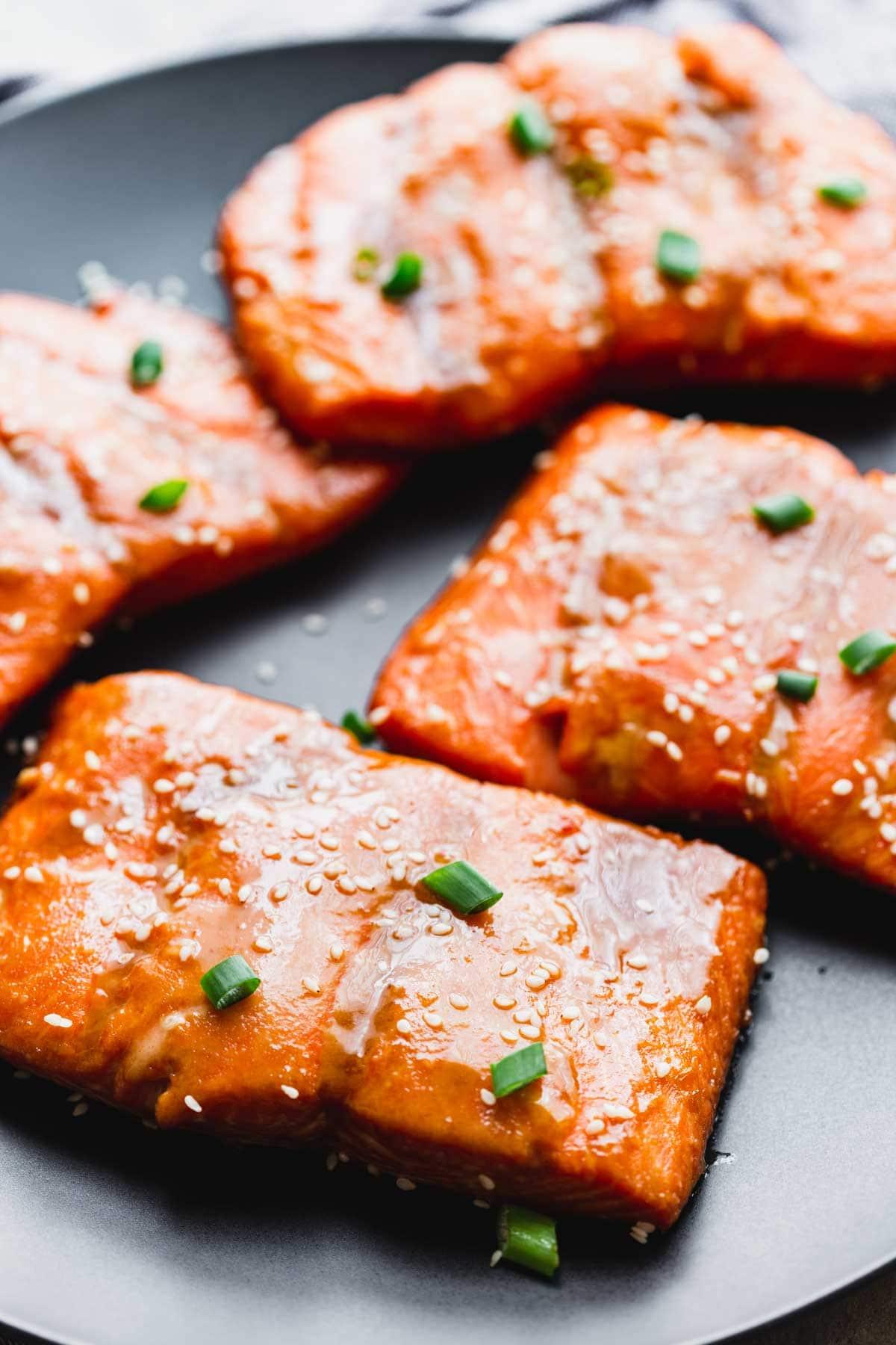 close-up of roasted salmon with maple tahini marinade