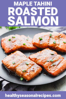 salmon on a black plate with text overlay