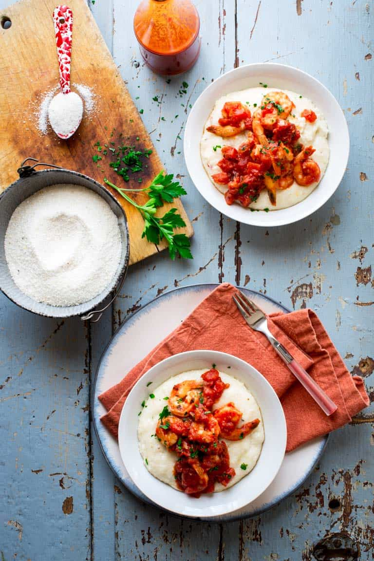 Spicy Shrimp and Cheese Grits with Tomato | Gluten Free | Entree | 20 minutes or less | Healthy Seasonal Recipes | Katie Webster