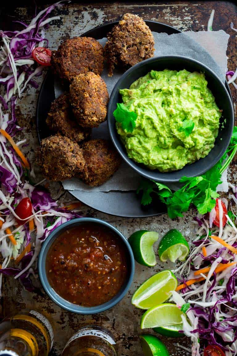 These five ingredient black bean croquettes are an easy vegetarian appetizer to serve for a Cinco de Mayo party. Serve with guacamole or salsa for dipping! Healthy Seasonal Recipes   Katie Webster