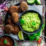 These five ingredient black bean croquettes are an easy vegetarian appetizer to serve for a Cinco de Mayo party. Serve with guacamole or salsa for dipping! Healthy Seasonal Recipes | Katie Webster