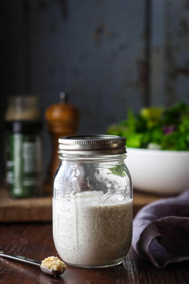 Ranch Salad Dressing made with Greek Yogurt and horseradish Naturally gluten free and only 47 calories per serving! By Katie Webster on Healthy Seasonal Recipes.