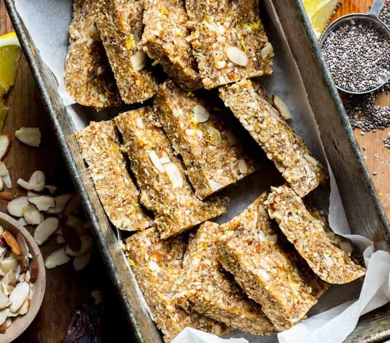 lemon ginger chia no-bake snack bars