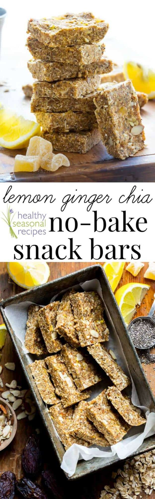 Lemon chia bar photo collage  with text overlay
