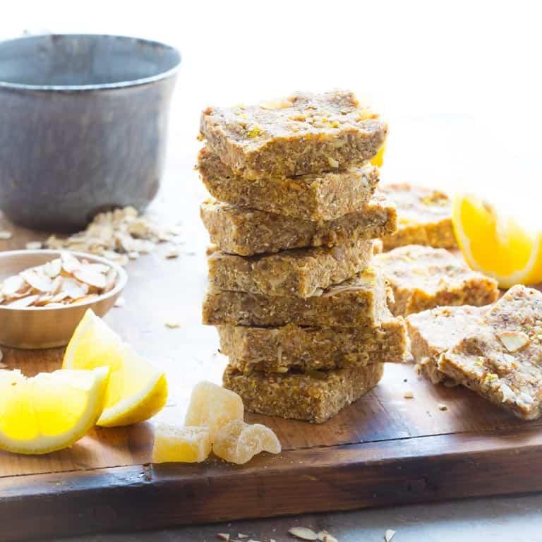 lemon ginger chia no-bake snack bars