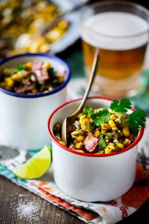 This Loaded Mexican Street Corn Sauté is an easy skillet side dish variation of Mexican street corn made with frozen corn and topped with flavorful additions like pepitas, Cotija cheese, bacon, pickled jalapenos and cilantro. Healthy Seasonal Recipes   Katie Webster