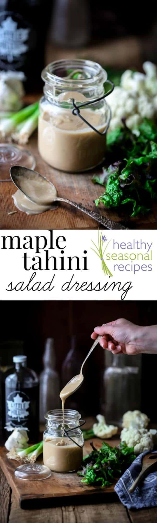 This Maple Tahini Dressing is so good and just in time for Salad Month. It is vegan, gluten-free and paleo. And is ready in just 10 minutes! Healthy Seasonal Recipes | Katie Webster #paleo #vegan #saladdressing