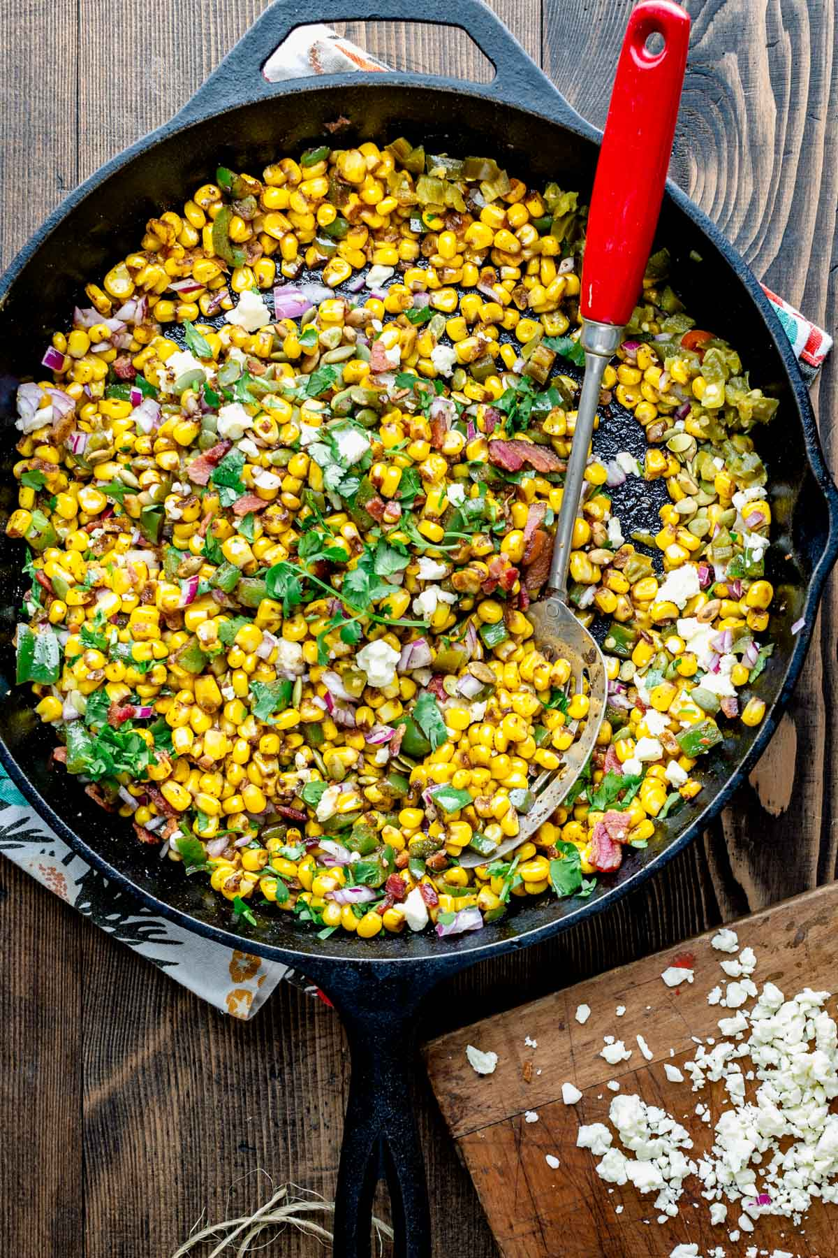 Street corn skillet off the cob in a black iron skillet