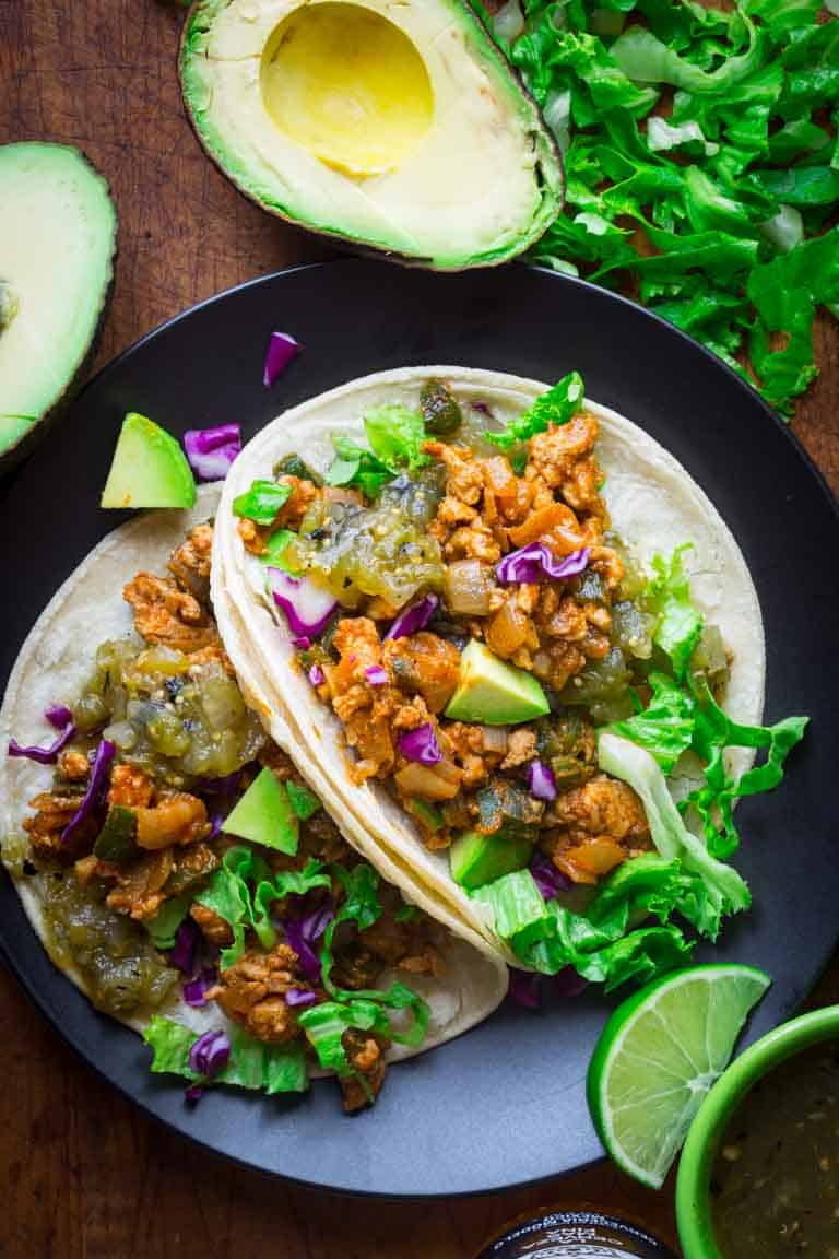 20 minute ground chicken tacos with poblanos