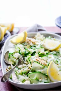 This Raw Zucchini Ribbon Salad with Hazelnuts and Feta is fresh and lovely summer salad that will use up a ton of zucchini from your garden and it's ready in just 15 minutes! | Healthy Seasonal Recipes | Katie Webster