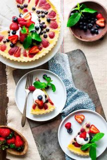overhead tablescape with red white and blue buttermilk berry tart