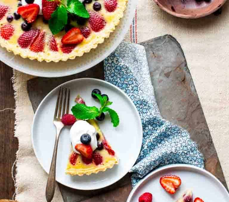 red white and blue buttermilk berry tart