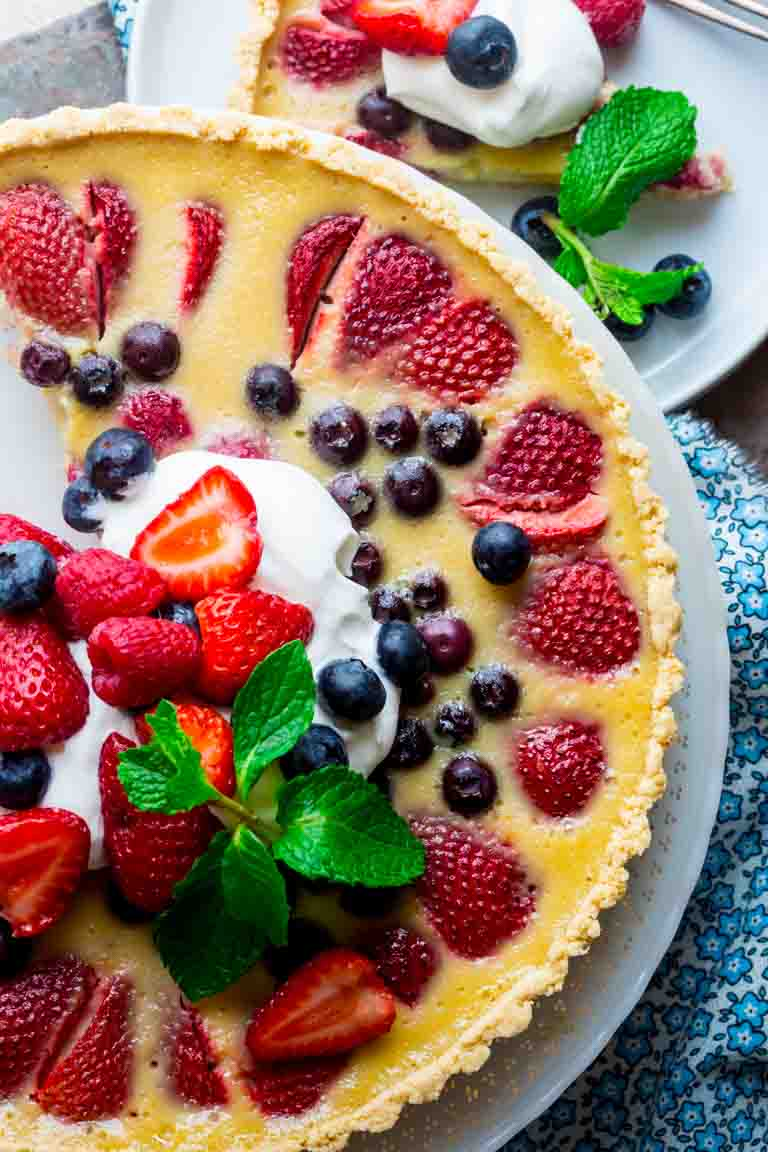 Red White and Blue Berry tart close up