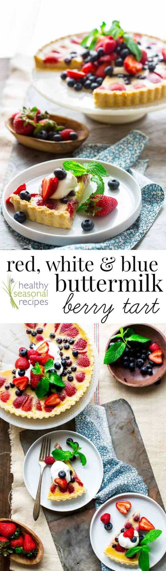 Red White and Blue Tart made with berries and buttermilk makes an impressive looking (but actually easy) dessert for the Fourth of July or Memorial Day. It's made with a simple press-in tart shell (no rolling or crimping required) and the sweet buttermilk filling tastes so good with fresh summer berries! #dessert #redwhiteandblue #fourthofjuly #berries