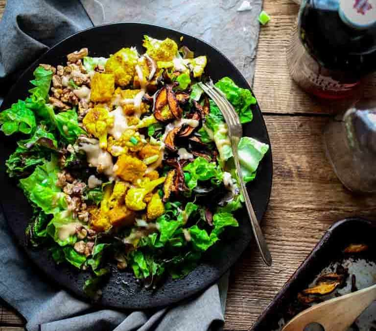 turmeric roasted cauliflower and tempeh power salad vegan