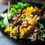 These Turmeric Roasted Cauliflower and Tempeh Power Salads make a delicious and filling vegan lunch or dinner. They have 10 hunger-busting grams of fiber, 12 grams of plant-based protein and only 322 calories each! Healthy Seasonal Recipes | Katie Webster