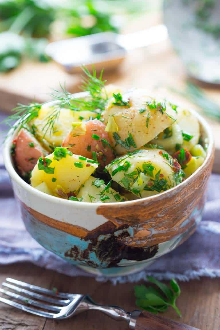 vegan potato salad with herbs