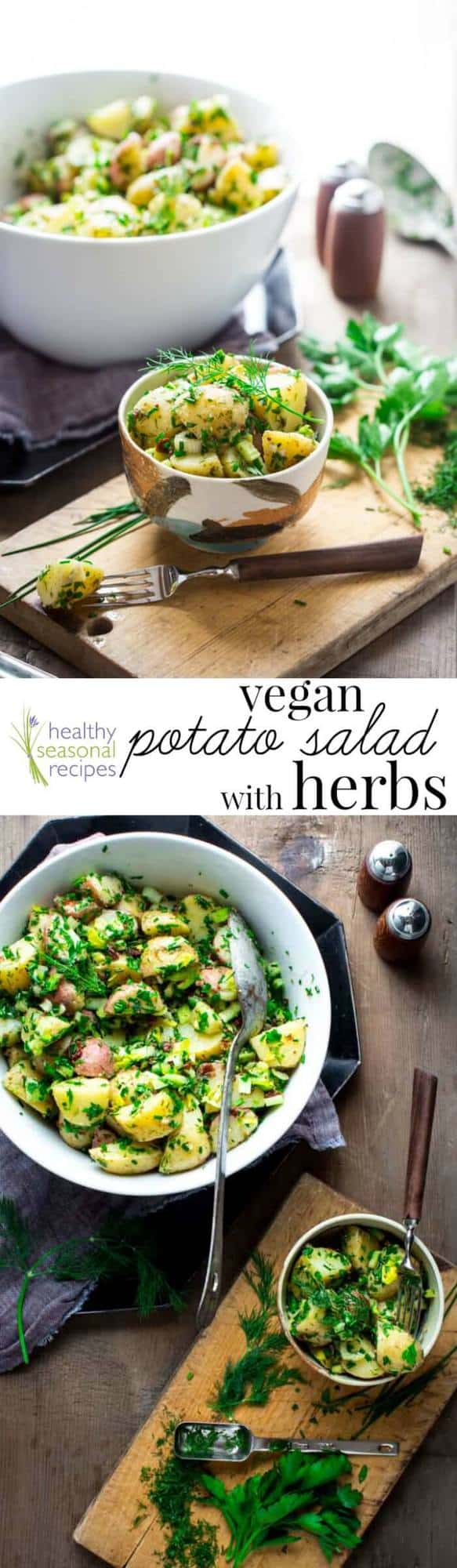 Vegan Potato Salad with Oil and Vinegar Dressing and tons of fresh herbs. It is a healthy summer side dish everyone will love and there is no mayonnaise! #vegan #potatosalad #healthy #glutenfree #potatoes #sidedish #potluck #barbecue #Cleaneating