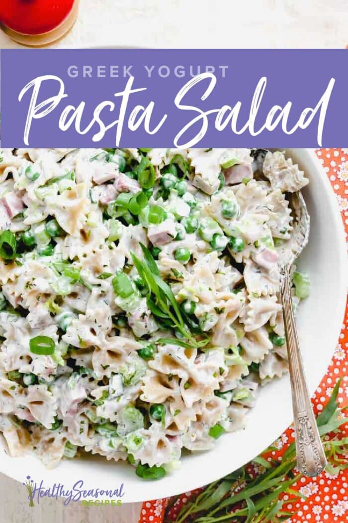 overhead closeup of bowtie pasta salad with text overlay