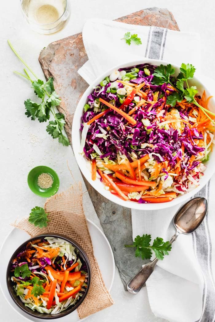 two bowls of asian coleslaw