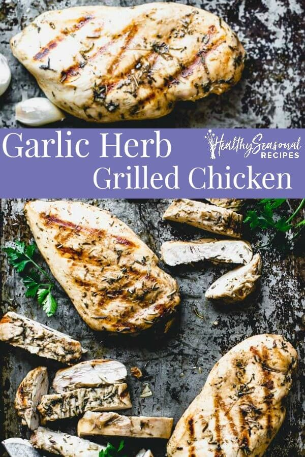 herb grilled chicken collage with text overlay