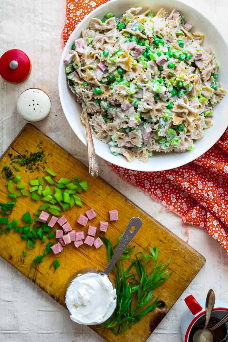 Healthy Greek Yogurt Pasta with Ham and Peas by Katie Webster | Healthy Seasonal Recipes