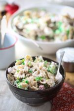 healthy greek yogurt pasta salad with ham and peas