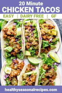 a platter of chicken tacos