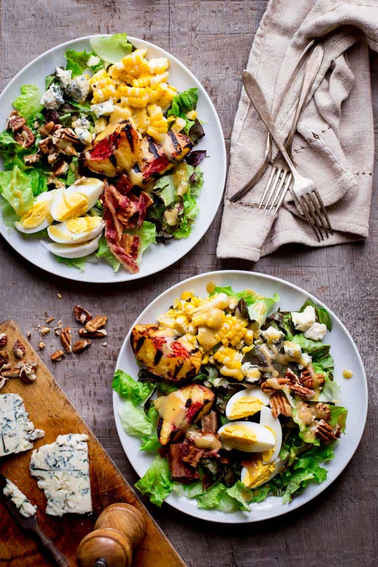 Grilled Corn and Peach Cobb Salad | Healthy Seasonal Recipes