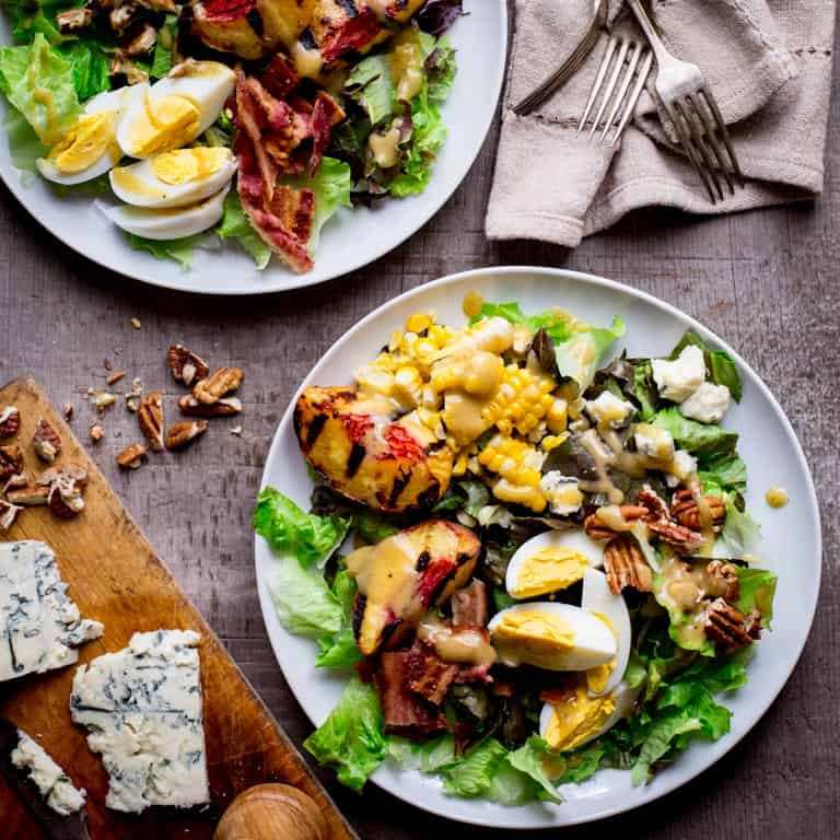 grilled corn and peach cobb salad