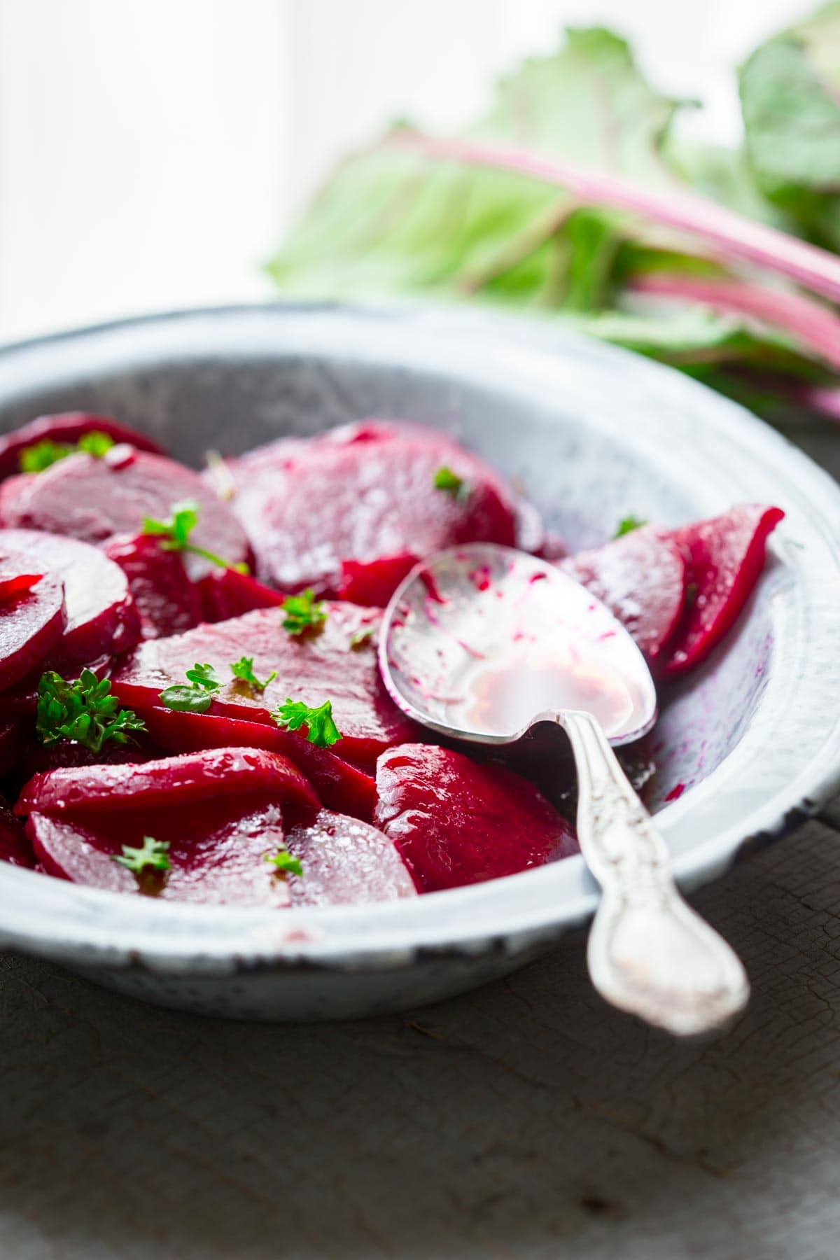 pickled beets in a blue metal dish