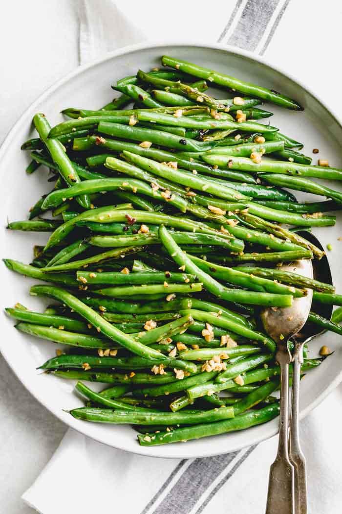 a platter of green beans overhead