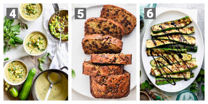 zucchini soup, zucchini bread, grilled zucchini