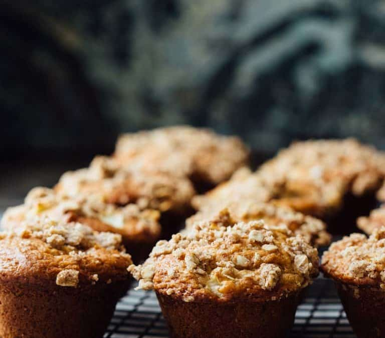 greek yogurt apple streusel muffins
