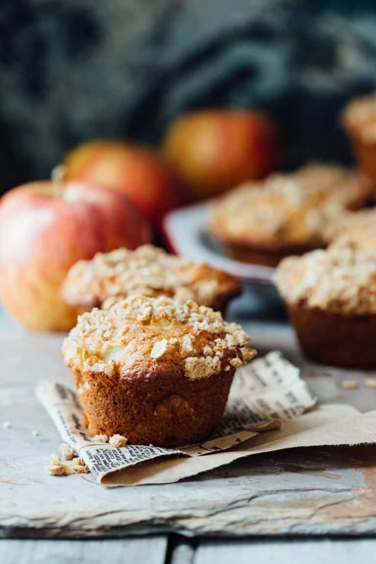 Greek Yogurt Apple Streusel Muffins on countertop