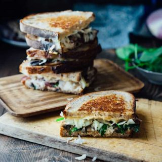 This Skinny Vegetable Reuben is loaded with sautéed mushrooms, onions and spinach, topped with lacto-fermented sauerkraut and sauced with home-made skinny Russian dressing. It is ready in less than 30 minutes for an awesome vegetarian meal the whole family will love!   Healthy Seasonal Recipes   Katie Webster